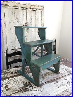 Aafa Ooak Folk Art Antique Primitive Step Stool / Shelf Alligator Blue Paint