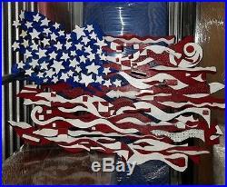 Ab The Flagman American Flag Extra Large Ivens Folk Art Painting Sculpture Wood