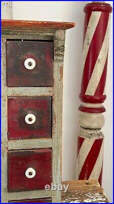 Adorable Aafa Antique Folk Art Apothecary Cabinet Original Paint