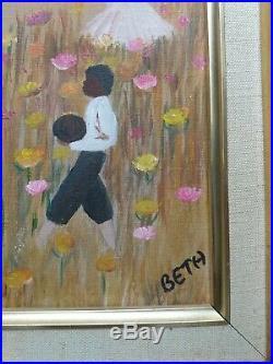 African-American Folk Art/Original Oil Painting/Beth/Black History/Framed Canvas