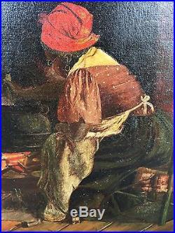 After Harry Roseland Large Oil Painting O/C Folk Art Black Fortune Teller Genre