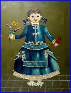 Agapito Labios Original Oil Painting Mexican Folk Art Young Lady Signed