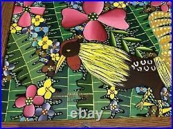Alix Cheramy Original Haitian Painting Rooster Jungle Flowers Folk Art Vintage