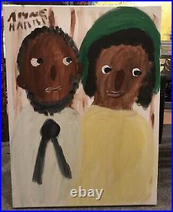 Alyne Harris Couple Folk Black African Outsider Art Painting