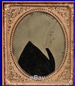 American Folk Portrait Miniature by Justus Dalee c1845
