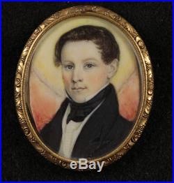 American Folk Portrait Miniature c1835