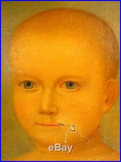 American Oil Painting Child Memorial Portrait Primitive Folk Art AAFA C. 1830's