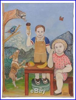 Andrea Badami Folk Art Painting Lost Ice Cream Cone Self Taught Artist Tuscon Az