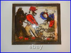 Andrzej Galek COSSACK AND BEAR Polish Reverse Glass Folk Art Painting 1960s