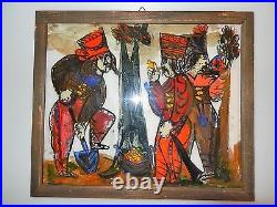 Andrzej Galek COSSACK CAMP Polish Reverse Glass Folk Art Painting 1960s