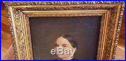 Antiqu 19th Century American Folk Art Portrait Old Woman Oil Painting Canvas #3