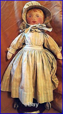 Antique 17 Cloth Folk Art Doll Flat Hand, Painted Face c1890