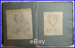 Antique 1800's FOLK ART SCRAPBOOK Sketchbook WATERCOLOR PAINTING & DRAWING Book
