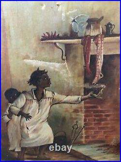 Antique 1800s Black Folk Art Americana Oil Painting, Christmas Signed