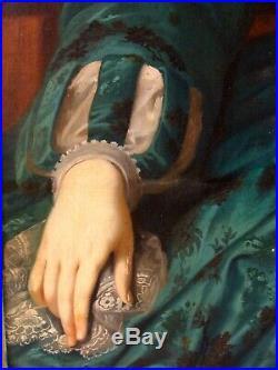 Antique 1830's Folk Art Portrait Woman Green Dress & Flower Painting
