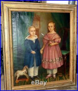Antique 1830s American Folk Art Children Portrait Painting Lg. 45 x 38