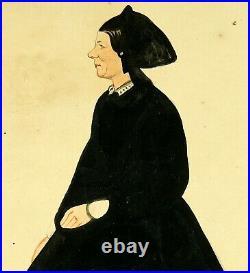 Antique 1830s Naive Watercolour Painting Lady Folk Art Portrait 19th Century