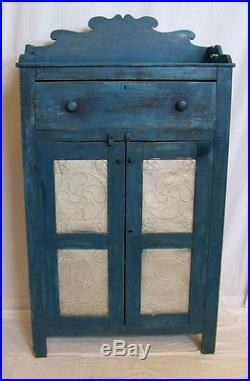 Antique 1840s Heart Pine Primitive Folk Art Pie Safe NC Blue Paint Cupboard
