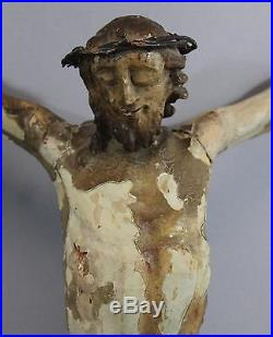 Antique 18thC Folk Art Hand Carved Painted Wood Santos Crucified Jesus Crucifix