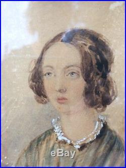 Antique 18thC Miniature Folk Art Watercolor Portrait Painting of Emily Henshaw