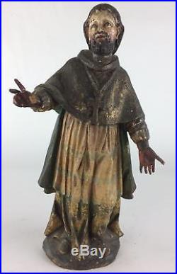 Antique 18thC Spanish Santos Colonial Folk Art Carved Painted Wood Mexican Saint