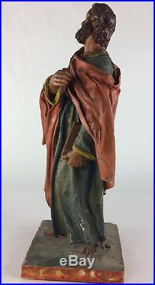 Antique 18thC Spanish Santos Colonial Folk Art Creche Painted Mexican Saint