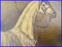 Antique 18th century Equestrian Horse Portrait Oil Painting Stubbs Style Folk