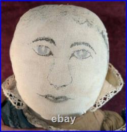 Antique 1900 Folk Art Hand Made Painted Face 20 Cloth Rag Doll Original Clothes