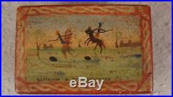 Antique 1900 Folk Art Painted Miniature Box Battle Scene Figures Horses