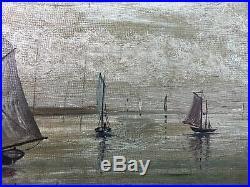 Antique 1914 Sailboat Boat Seascape Original Folk Art Oil Painting Signed