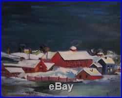 Antique 1920s H Bishop Watercolor Christmas Winter Landscape Folk Art Painting