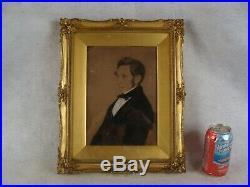 Antique 19C Folk Art Portrait Gentleman in Suit Painting