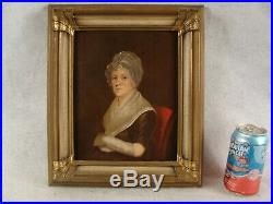 Antique 19C Folk Art Portrait of Woman Painting Nice Frame