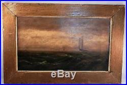 Antique 19C c1885 Nautical Oil PaintingFolk Art Seascape of Sailboats & The Sea