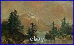 Antique 19c Oil Painting Country Folk Art Primitive Victorian Americana Fine Art