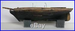 Antique 19thC American Folk Art Handmade Wood Painted Sail Boat Yacht Ship Model