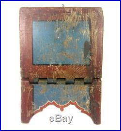 Antique 19thC BIBLE STAND BLUE & BITTERSWEET PAINT AAFA Book/ Folk Art/ Wood