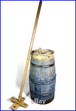 Antique 19thC BLUE PAINT BUTTER CHURN AAFA Primitive Folk Art Hearth Pantry