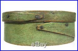 Antique 19thC OVAL PANTRY BOX ORIG GREEN PAINT HERSEY AAFA Folk Art Primitive