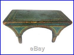 Antique 19thC PAINT DECORATED STOOL AAFA Folk Art Primitive Bench Cricket Blue