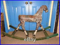 Antique 19th. C Folk Art Child's Painted Wood Rocking Horse, Primitive