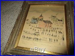 Antique 19th C Pennsylvania Folk Art Watercolor Painting Lewis Miller 1831