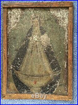 Antique 19th C. Spanish Colonial Painting Retablo on Tin Madonna Folk Art