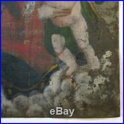 Antique 19th C. Spanish Mexican Retablo Devotional Folk Art Painting Mother & Ch