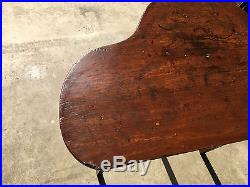 Antique 19th Century AAFA Primitive Pine Folk Art Red Painted Unique Form Table