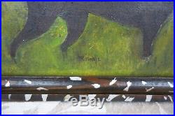 Antique 19th Century Folk Art Primitive Naive Oil Painting Hunting Pointer Dog