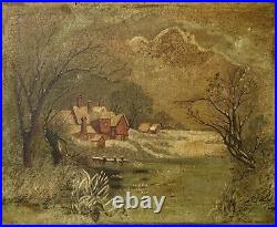 Antique 19th Century New England Winter Landscape Folk Art Oil Painting Signed