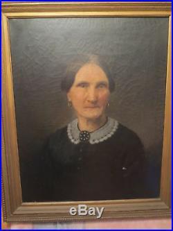 Antique 19th c Folk Art Portrait of Older Woman Oil on Canvas Painting #1