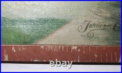 Antique 19th century Johannes Olsen Folk Art town school figural oil painting