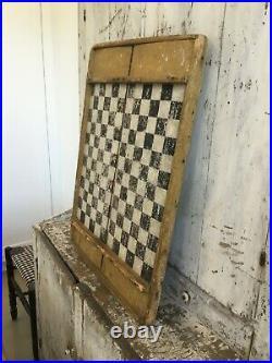 Antique Aafa Folk Art Early Checkerboard Original Paint Mustard Black White